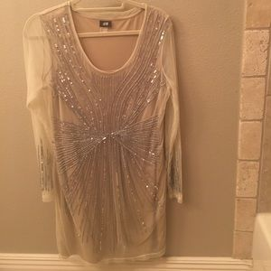 H&M SZ L sequin and sheer dress