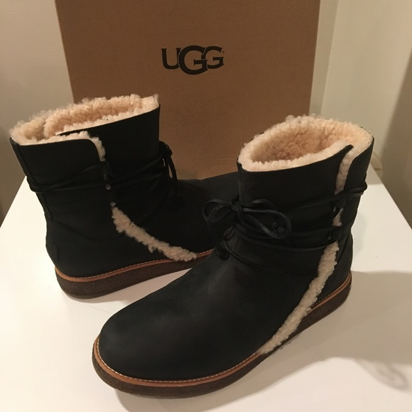 56c5ad44973 New Classic Ugg Luisa black Nubuck Leather boots❤️ NWT