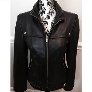MICHEAL KORS black leather scuba jacket size small