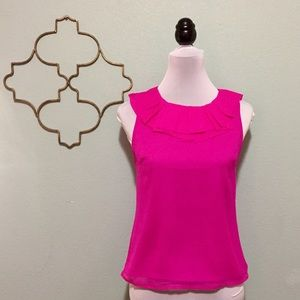 J. Crew hot pink ruffle neck sleeveless blouse