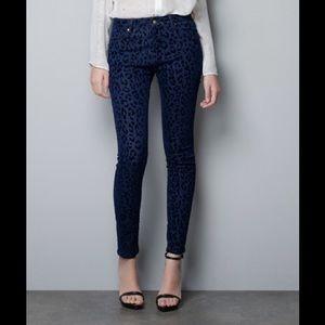 Zara Blue Animal Print Slim Skinny Pants