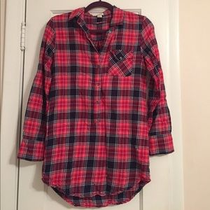 J Crew Plaid Tunic in Navy Papaya!