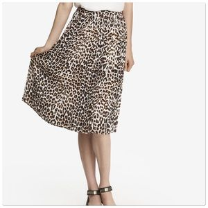 Express Animal Print Pleated Midi Skirt