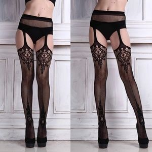 Sexy Womens Lingerie net Lace Top Garter Belt Thig