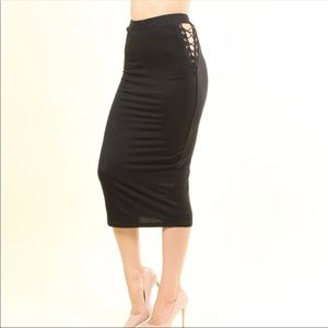 Dresses & Skirts - SOLID KNIT JERSEY PENCIL SKIRT WITH LACE UP SIDES.