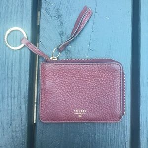 Fossil Maroon Leather Sydney Coin Purse