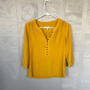 Golden yellow button blouse