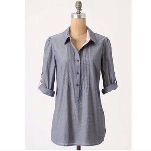 Anthro Postmark chambray pleated top