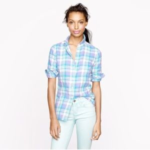 J Crew Boy Shirt in Peri Plaid Flannel Top