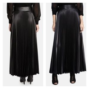KAREN MILLEN Faux Leather Pleated Midi Skirt