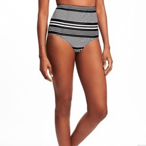 Striped high waisted swim suit bottoms!