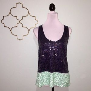 J. Crew navy and turquoise sequin tank top
