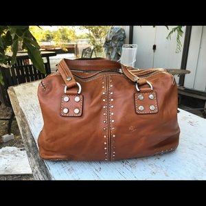 Michael Lors Tan Leather Beaded Doctor Bag