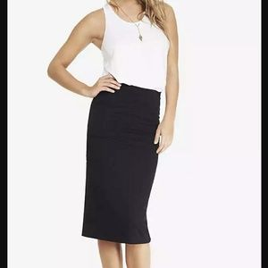 Express black stretch knit midi pencil skirt