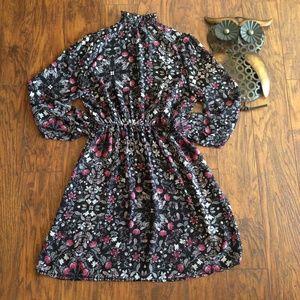 CHARLOTTE RUSSE SHEER PRINT HIGH NECK DRESS