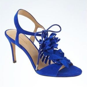 Banana Republic cobalt blue fringe lace up heels