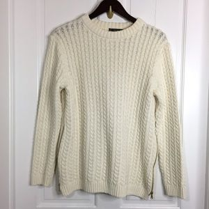 Zara chunky cable knit sweater side zips ivory L