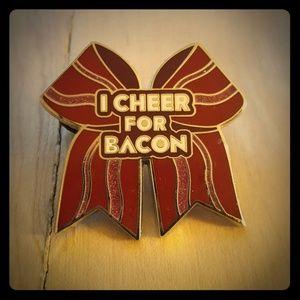 VARSITY I Cheer For Bacon Bow Pin
