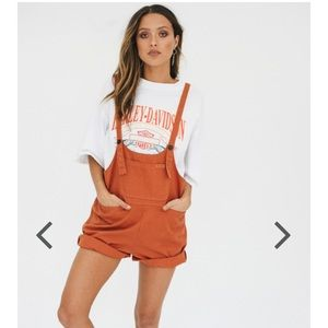 Burnt orange overalls
