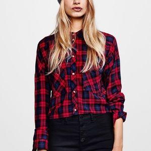H&M Divided Plaid Button-Down Cropped Shirt