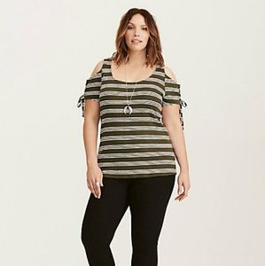 Striped Lace Up Cold Shoulder Tee