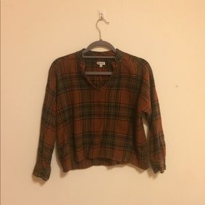 Madewell Cropped Plaid Blouse