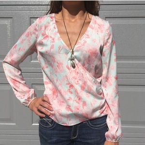 Guess Pink and White Floral Blouse