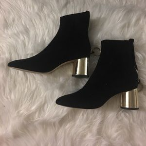 Zara - Black Suede Booties with Gold Metallic heel