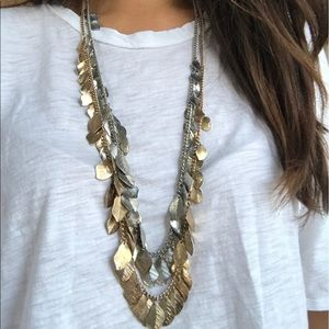 2- long dangle feather charm necklaces