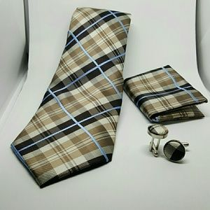 Other - Brown plaid Tie set