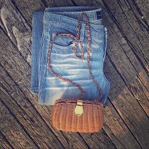 Vintage Dark Tan Woven Box Purse