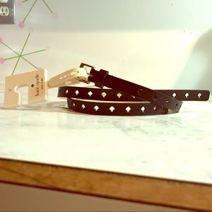NWT Black leather ♠️ Kate Spade logo cutout belt