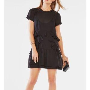 BCBG Shadow Stripe Ruffle Dress sz S