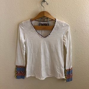 Anthropologie Mixed Material Henley Tee