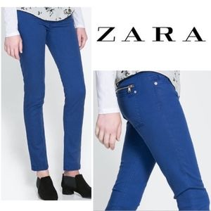 Zara Z1975 Royal Blue Mid-Rise Skinny Jeans Size 6