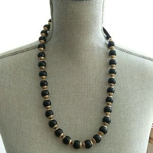 JCrew Black and Gold Glass Bead Ribbon Necklace