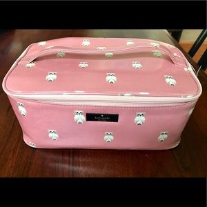 Kate Spade Large Colin Cosmetic Case Pink Owl NWT