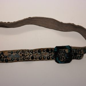 Miss Me Turquoise Brown Leather Studded Belt