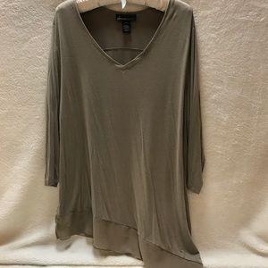 3/4 Sleeve asymmetrical tan top