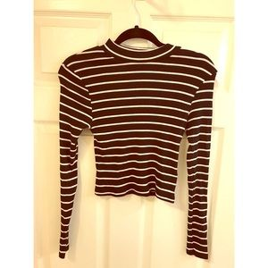 Black and white stripe high neck top