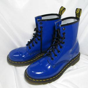 Dr. Martens Patent Blue Boots | Doc Martens 1460