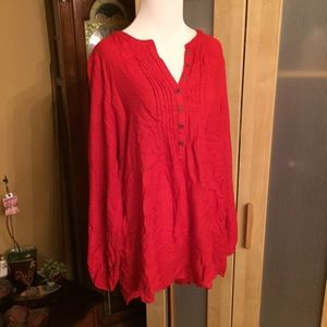 Lucky Brand Red Peasant Top with Buttons