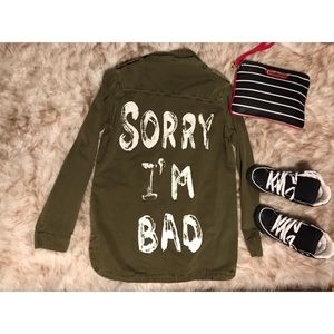 "💋 35% OFF ""Sorry .. I'm Bad 👻 Utility Jacket!"