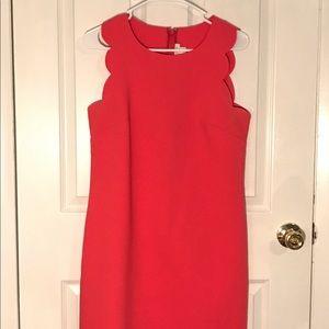 J. Crew Coral Scallop Dress