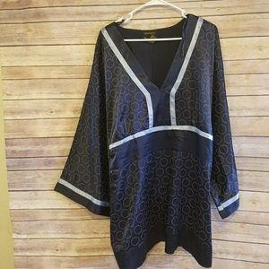 ASHLEY STEWART Blue Blouse Plus Size 22
