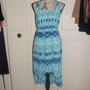 H&M Blue Chiffon Empire Waist Dress Asymmetrical