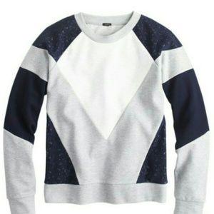 J.Crew Paneled lace sweatshirt NWT M