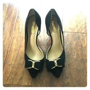 BCBGeneration black velvet heels with bows size 9