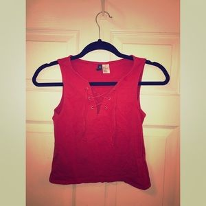 Red lace up crop top