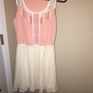 Pink/cream skater-style dress: SMALL